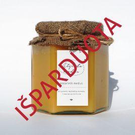 Vasarinis medus, 500 g. (šešiakampis stiklainis)